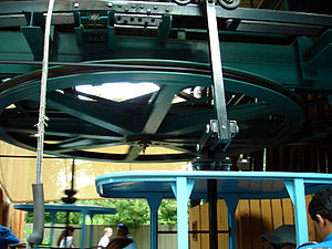 Skyride (Busch Gardens Tampa Bay) - The bullwheel at the Stanleyville station