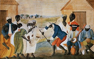 Banjo - The Old Plantation, ca. 1785 - 1795, the earliest known American painting to picture a banjo-like instrument; thought to depict a plantation in Beaufort County, South Carolina