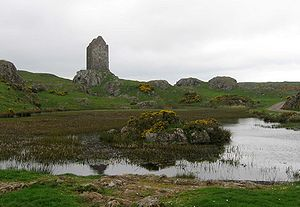 Smailholm Tower - Smailholm Tower from the east across the lochan from near Sandyknowe Farm
