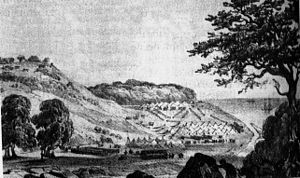 History of Sochi - Russian camp at the mouth of Sochi River in April 1838.
