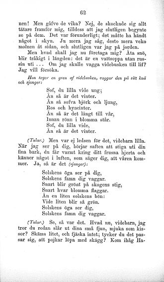 "Sov du lilla vide ung - A page from Topelius's book Läsning för barn (""Reading for children"") No. 4, 1871. The text differs slightly from the version published earlier in 1869."