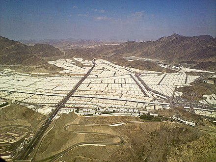 Tent city at Mina in 2009 Some perspective on Mina - Flickr - Al Jazeera English.jpg