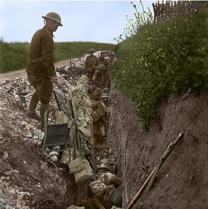 Royal Newfoundland Regiment - Restored photo of Regiment members in St. John's Road, a support trench, 200 metres behind the British forward line at Beaumont Hamel, 1916