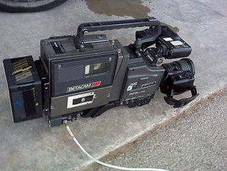 Betacam - Sony Betacam SP BVV-5 VTR, docked to a JVC KY-D29 camera head.