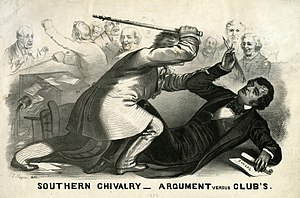 Legislative violence - A political cartoon depicting U.S. Democratic congressman Preston Brooks's attack on Republican congressman Charles Sumner, an example of legislative violence.
