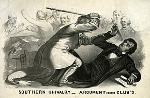 John L. Magee of Philadelphia created Southern Chivalry—Argument Versus Clubs, a lithograph that shows Northern outrage over Preston Brooks's attack on Sumner.