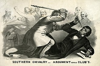 Caning of Charles Sumner - Lithograph of Preston Brooks' 1856 attack on Sumner; the artist depicts the faceless assailant bludgeoning Sumner