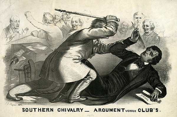 Partisan violence spilled into Congress in May 1856 when Free Soil Senator Charles Sumner was assaulted with a walking cane by Democratic Rep. Preston Brooks in the Senate chamber.[136]