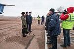 Soyuz MS-12 crew at the Krayniy Airport in Baikonur.jpg
