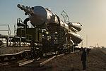 Soyuz TMA-08M spacecraft roll out by train 6.jpg