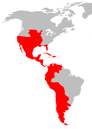 Peace of Paris (1783) - The Spanish American colonies at their maximum extent, after the Peace of Paris, 1783