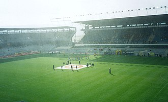 Stadion Letná - Interior of the Generali Arena at the start of a game, Nov 2002