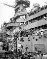 Spectators and photographers pick vantage spots on the deck of the USS MISSOURI in Tokyo Bay, to witness the formal Japanese surrender proceedings HD-SN-99-03020.jpg