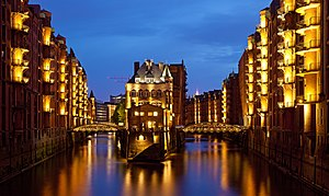 Speicherstadt - View of Wandrahmsfleet at night