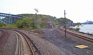 Hudson Line (Metro-North) - The West Side Line (right, un-electrified) joins the Hudson Line just north of Spuyten Duyvil.