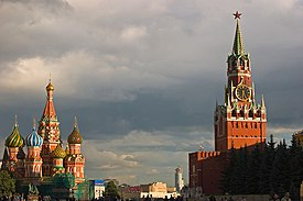 St. Basil's Cathedral and Spasskaya Tower of Kremlin, Red Square, Moscow