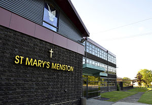 St Mary's Menston Catholic Voluntary Academy - The visitor entrance to the school, 2011. Note the stained glass window in the Chapel