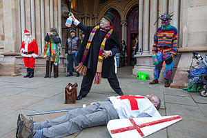 Mummers play - The Doctor brings St George back to life in a 2015 production by the St Albans Mummers
