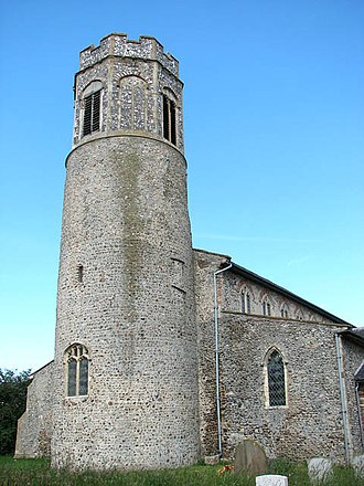 Saxo-Norman - The round tower of St Andrew's, Bedingham, is of Saxo-Norman design