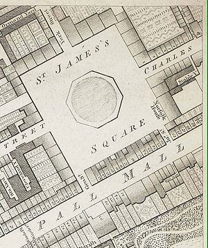 Pall Mall, London - Pall Mall and St James's Square shown in Richard Horwood's map of 1799.
