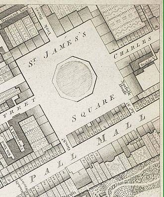 Army and Navy Club - St James's Square and Pall Mall in 1799