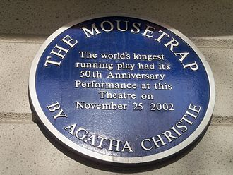 The Mousetrap - Blue plaque on the front wall of St Martin's Theatre, Covent Garden, London