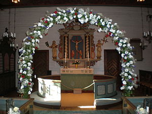 Tylösand - An example of the chapel's wooden decorations