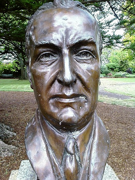 Bust of Stanley Bruce by sculptor Wallace Anderson located in the Prime Ministers Avenue in the Ballarat Botanical Gardens in Ballarat, Victoria Stanley Bruce bust.jpg