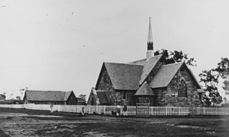 Warwick, Queensland - Second St. Mark's Church of England, Warwick, ca. 1872, the first (wooden) church can be seen in the background.