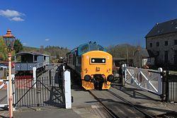 Staverton Level Crossing - D6975 down train.JPG