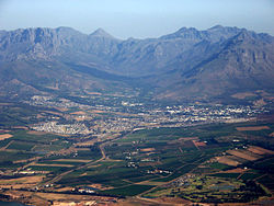 Stellenbosch, South Africa's second-oldest urban area (town), with Great Drakenstein and Stellenbosch Mountains beyond