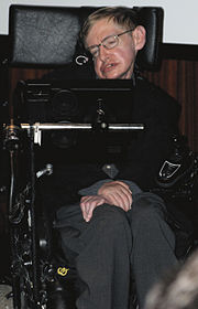 Hawking on 5 May 2006, during the press conference at the Bibliothèque nationale de France to inaugurate the Laboratory of Astronomy and Particles in Paris and the French release of his work God Created the Integers.