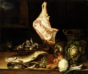 Still Life with a Joint of Veal, Greens and Fish
