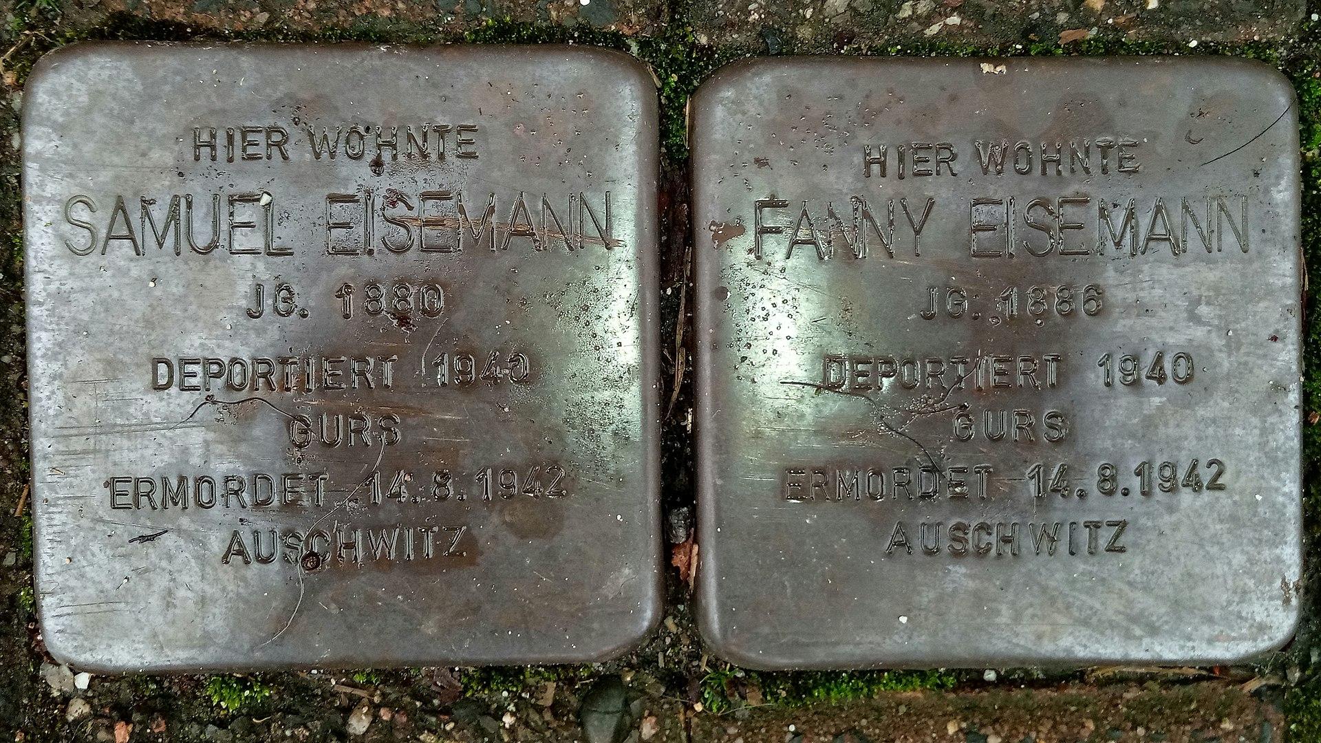 Stolperstein für Samuel und Fanny Eisemann