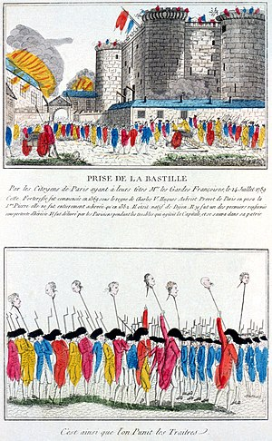 Public holidays in France - French etching from 1789 depicting the storming of the Bastille, commemorated as Bastille Day