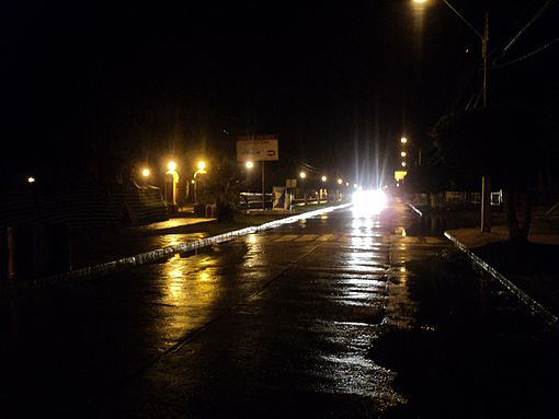 Heavy rains affected Pichilemu on Friday night. View of Agustín Ross Avenue is pictured. Image: Diego Grez.