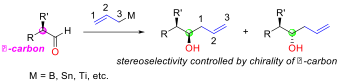 Substrate control. addition of achiral allylmetals to α-chiral aldehydes.