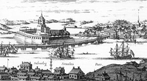 Viborg and Nyslott County - An engraving of Viborg Castle from Suecia antiqua et hodierna.