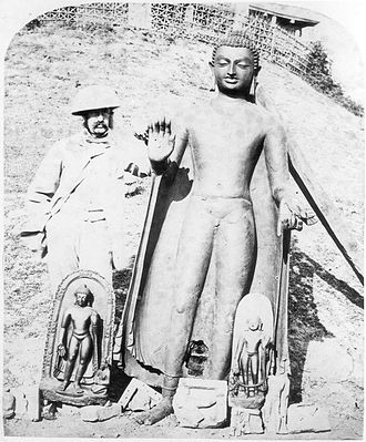 Sultanganj - EB Harris with the Sultanganj Buddha. 1861/1862