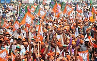 Supporter of Bharatiya Janata Party at an election rally in Amethi.jpg