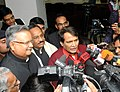 Suresh Prabhakar Prabhu along with the Chief Minister of Chhattisgarh, Dr. Raman Singh interacting with the media after signing of an MoU between Ministry of Railways and State Government of Chhattisgarh for formation of JV.jpg