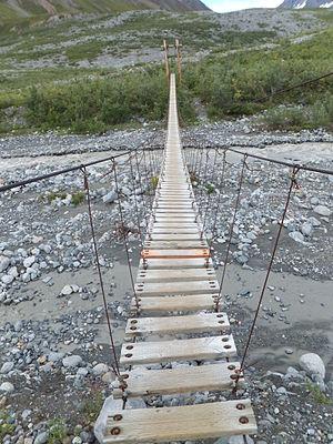 Gulkana Glacier -  Suspension Bridge over Phelan Creek.