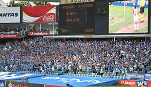 Sydney FC - Sydney supporters at the northern end at the Allianz Stadium