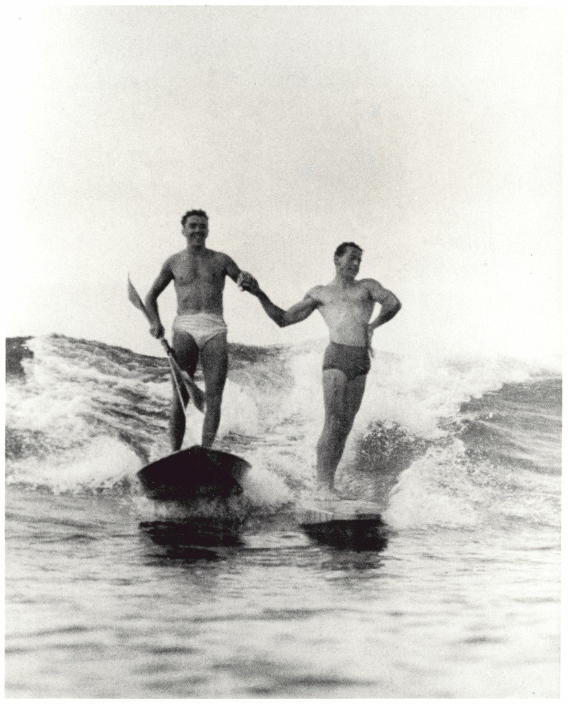 Synchronised surfing,Manly beach, New South Wales, 1938-46 (6519242455)