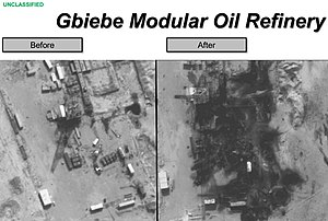 American-led intervention in Iraq (2014–present) - Pictures show damage to the Gbiebe oil refinery in Syria following airstrikes by US and coalition forces, 25 September 2014