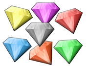 The Chaos Emeralds as they appeared in Sonic R - yellow, purple, red, grey, cyan, orange, and green.
