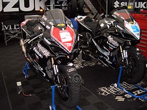 Bruce Anstey - Two of Anstey's race bikes displaying his No 5 plate