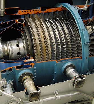 Axial compressor - The compressor in a Pratt & Whitney TF30 turbofan engine.