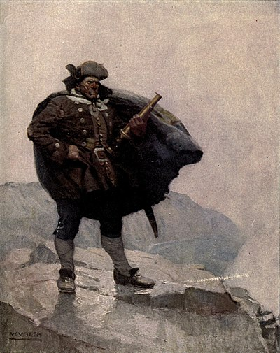 Man standing on a cliff with a telescope held in his left hand and his cape blowing in the wind.