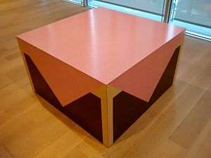 Richard Artschwager - Table with Pink Tablecloth on display at the Art Institute of Chicago
